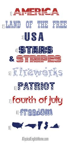 Best Fourth Of July Fonts ~    Here are nine great free fonts to help you get in the mood for celebrating American Independence Day.     Downloads @:  http://www.atypicalenglishhome.com/2013/06/best-fourth-of-july-fonts.html?utm_source=feedburner_medium=email_campaign=Feed%3A+ATypicalEnglishHome+%28A+Typical+English+Home%29