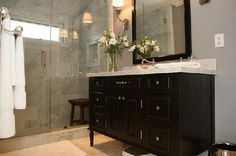 Love this bath espresso and marble vanity glass shower stone tile