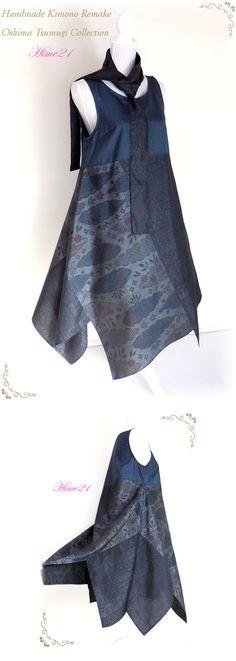 大島紬などの着物をリメイクして服を作っている個人サイトです。 すべて1点ものの手作り。アナタだけの1着が見つかりますように。 Diy Clothing, Sewing Clothes, Clothing Patterns, Kimono Dress, Batik Dress, Japanese Fashion, Asian Fashion, Kimono Fashion, Boho Fashion
