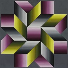 The Birth of Op Art' at the Museo Nacional Thyssen-Bornemisza, Madrid. 'Eroed-Pre' 1978 Acrylic on cardboard Victor Vasarely, Geometric Quilt, Geometric Art, Art Optical, Optical Illusions, Op Art, Bargello Quilts, Contemporary Quilts, Illusion Art