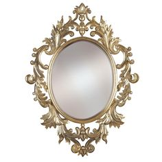 A boldly scaled version of an antique European style, Athena combines artisan details with an oval beveled mirror in a hand applied Gold Leaf finish with Silver Highlights.