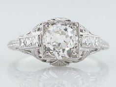 Original Antique Edwardian Art Deco 1.15 ct Old Mine Cut Diamond Engagement Ring in 14kt White Gold on Etsy, $6,875.00
