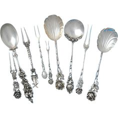 German .800 Silver Serving Pieces, Cream Spoons with Rose design