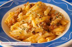 Receta de macarrones con chorizo, tomate y queso