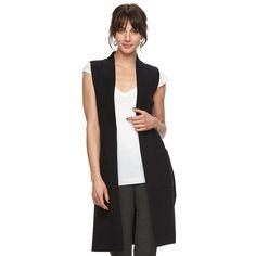 Women's Elle™ Long Sweater Vest, Size: XXL, Black