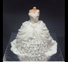 Bridal Shower - A Victorian gown cake. The dress part is cake covered in layers n layers of fondant...