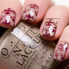 Stamping with OPI Have you tried stamping with a dark red on a nude polish? If you want to see the end result click on the link to see how my manicure ended up.