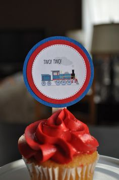 Seriously adorable cupcake idea for 2 year old birthday boy @Donna Brienza #birthday #cupcaketopper