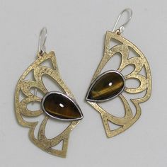 Peacock Strut II Earrings, Tiger eye, brass.