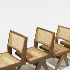 Pierre Jeanneret, set of six dining chairs from Chandigarh, France/India , c. Material teak and cane. Upcoming for sale at Wright Design Auction, March Vintage Chairs, Vintage Furniture, Modern Furniture, Furniture Design, Outdoor Furniture, Outdoor Chairs, Dining Chairs, Pierre Jeanneret, Indian Furniture