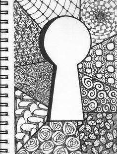 keyhole zentangle doodle by bridgette.jons- keyhole zentangle doodle by bridgette.jons keyhole zentangle doodle by bridgette. Doodles Zentangles, Zentangle Drawings, Doodle Drawings, Sharpie Drawings, Flower Drawings, Doodle Patterns, Zentangle Patterns, Doodle Borders, Mandala Art