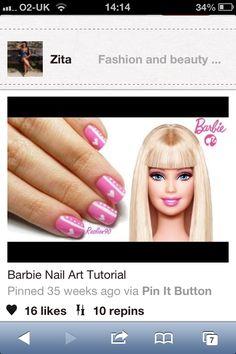 Barbie inspired nail art :)
