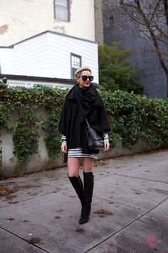Sweater Poncho: Theory on sale (also love this poncho). Dress: Zara (similar). Boots: Sigerson Morrison. Scarf: Calypso (similar). Bag: Chanel c/o. Sunglasses: Karen Walker 'Super Duper'. Lips: Stila 'Beso'.