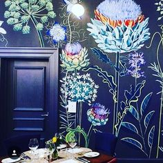 Obsessive compulsive crush on Lucy Tiffney wall murals. This wall art is beautif… - Wall Ideas Wall Design, House Design, Deco Cool, Flower Mural, Interior And Exterior, Interior Design, Dark Walls, Of Wallpaper, Bohemian Wallpaper