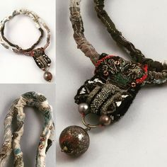 GB, 2016... Fibre necklace, machine and hand stitching on linen, felt, silk, cotton...