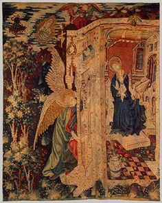Tapestry with the Annunciation, ca. 1410–1430  South Netherlandish  Wool warp, wool with a few metallic wefts