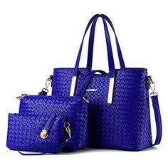 Dasion 2016 Spring Female Bag Euramerican Fashion Woven Grain Lash Three-piece Package Hand The Bill Of Lading Shoulder Lady Bags(Blue) *** You can get additional details at http://www.amazon.com/gp/product/B01DDS47NG/?tag=clothing8888-20&pab=170816135518