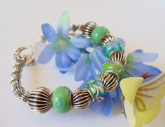 Blue Green Lampwork and Antiqued Silver Bangle by simplysuzie2, $25.00