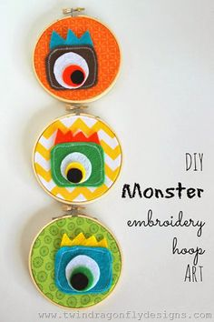 16 Inspiring Ideas and Tutorials for Embroidery Hoops - Kids Room Wall Decoration