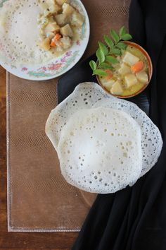 I have already shared a recipe for soft and pillowy palappams here. But I recently tried out this recipe, and while the taste was almost similar, the appams were definitely much, much softer. For those of you who are unfamiliar with the dish, appam is a leavened rice bread from Kerala. It is an abso
