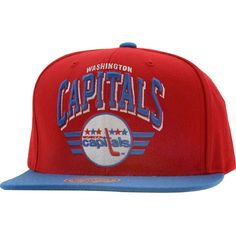 Mitchell and Ness Washington Capitals Stadium Snapback Cap in red and blue