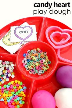 Candy Heart Play Dough Invitation And Free Printable Sight Word Cards For Preschool And Kindergarten Valentines