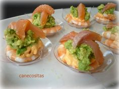 Cucharitas langostinos y aguacate 2 Appetizer Recipes, Appetizers, Yummy Food, Tasty, Canapes, Catering, Food To Make, Food And Drink, Snacks