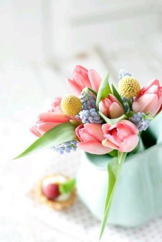 Spring brings so many gorgeous flower options for your Wedding Day. Here is an arrangement of some of my favorites; tulips, Pom poms and grape hyacinth. What are your favorite flowers? Are they spring time flowers? My Flower, Fresh Flowers, Spring Flowers, Beautiful Flowers, Pastel Flowers, Spring Bouquet, Spring Blooms, Yellow Flowers, Shade Flowers