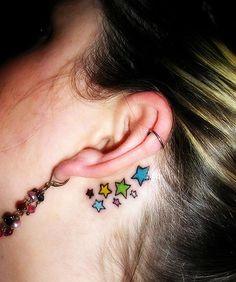 Best 50 Pretty Small Tattoo Designs for Girls - Beste Tattoo Ideen Best Star Tattoos, Star Tattoos Behind Ear, Small Star Tattoos, Cool Small Tattoos, Great Tattoos, Tattoos For Women Small, Beautiful Tattoos, Awesome Tattoos, Back Ear Tattoo