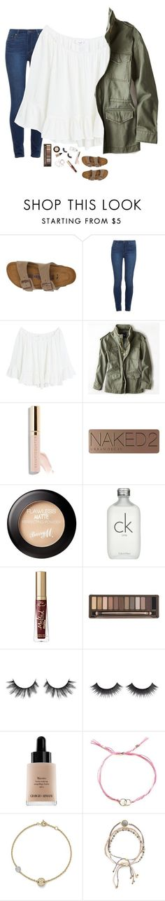 """Life Update"" by kat-attack ❤ liked on Polyvore featuring Birkenstock, Paige Denim, MANGO, American Eagle Outfitters, Beautycounter, Urban Decay, Calvin Klein, Too Faced Cosmetics, Giorgio Armani and Dogeared"