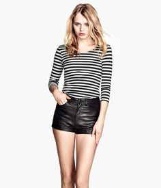 Product Detail | H&M US - striped shirt, high-waisted shorts