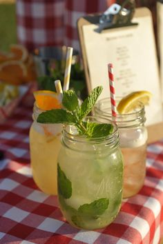 Mason jars as simple beverage containers.