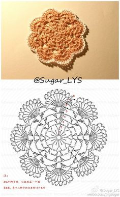 Here's a nice little crochet chart pattern from Sugar_LYS found on a…Pretty little doily; Photo pinned to my crochet boardMingky Tinky Tiger + the Biddle Diddle Dee: Photo Crochet Doily Patterns, Crochet Diagram, Crochet Chart, Crochet Squares, Thread Crochet, Crochet Motif, Crochet Designs, Crochet Doilies, Crochet Flowers