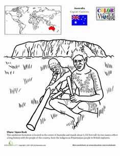 Here's a fun way for your child to look at world geography and history, starting with a beautiful coloring page of Ayers Rock/Uluru in Australia.