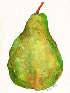 Green Pear watercolor painting Fruit series 5 x by SharonFosterArt, $15.00