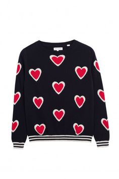 NEW Navy All Over Heart Contrast Cashmere Sweater