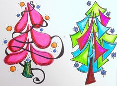 Funky little tree doodles...One of these would be so cute on a Christmas card...I could not find original artist, though. Anybody?