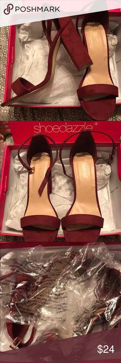 Maroon Chunky Heels Suede. 8.5/10 condition ShoeDazzle Shoes Heels