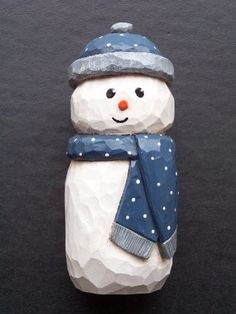 Carving | Folk Snowman by J.Chase | Pattern by Cyndi Joslyn
