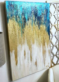 Original Painting Gold, Teal, Blue & White Bling, Sparkles with dimensional shades of aqua, blues. Teal Office, Gold Office Decor, Gold Painted Walls, Gold Walls, Pink Bedroom Decor, Gold Bedroom, Unicorn Painting, Blue Painting, Teal And Gold