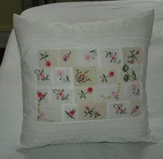 Vintage embroidery recycled into a patchwork pillow. Great for salvageable bits and pieces