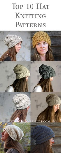 10 Quick & Easy Hat Knitting Patterns fpr any variety of knitted hat you might want. Beginner Knitting Patterns, Knitting For Beginners, Loom Knitting, Free Knitting, Knitting Projects, Summer Knitting, Bonnet Crochet, Knit Or Crochet, Crochet Hats
