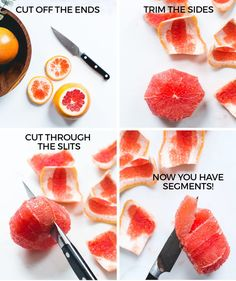 Stop squirting juice in your eyes from eating it with a spoon by learning how to segment your grapefruit. 23 Produce-Chopping Tips Every Home Chef Needs To Know Grapefruit Benefits, How To Eat Grapefruit, Grapefruit Recipes, Grapefruit Diet, Eat Fruit, Fruit And Veg, Fruits And Veggies, Vegetables, Healthy Snacks
