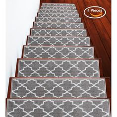 """Shop SUSSEXHOME Trellisville Collection Stair Treads Polypropylene 9""""x28"""" - On Sale - Overstock - 31045220 - Brown - 13-PACK Stair Tread Rugs, Carpet Stair Treads, Carpet Stairs, Stair Carpet Runner, Staircase Runner, Stair Railing, Stair Slide, Black Stairs, Hardwood Stairs"""