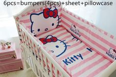 Promotion! 6PCS Hello Kitty Baby Crib Bedding Sets Cotton,Set in Bed,Cot Bedding Set,,include(bumpers+sheet+pillow cover)