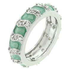 Aqua Eternity Enamel Ring (size: 09)