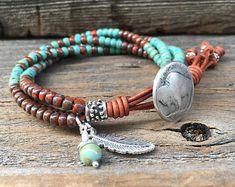 Leather Wrap Bracelet For Women/ Seed Bead Leather Bracelet Beaded Wrap Bracelets, Bohemian Bracelets, Seed Bead Bracelets, Handmade Bracelets, Bracelets For Men, Fashion Bracelets, Beaded Jewelry, Beaded Leather Wraps, Leather Jewelry