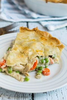 Easy Chicken Pot Pie - less salt, added garlic powder and a pinch more thyme; used half bag of frozen mixed veggies instead of peas and carrots, whole egg, not just egg white in the wash; precooked the bottom crust