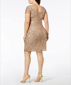 Adrianna Papell Plus-Size Sequin-Embellished Sheath Dress - Tan/Beige Maternity Dresses, Bride Dresses, Formal Dresses, Plus Size Pregnancy, Beautiful Curves, Review Dresses, Adrianna Papell, Mother Of The Bride, Sheath Dress
