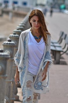 beaded jacket with destroyed jeans
